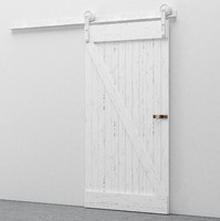 Worn Sliding Barn Door Vintage White