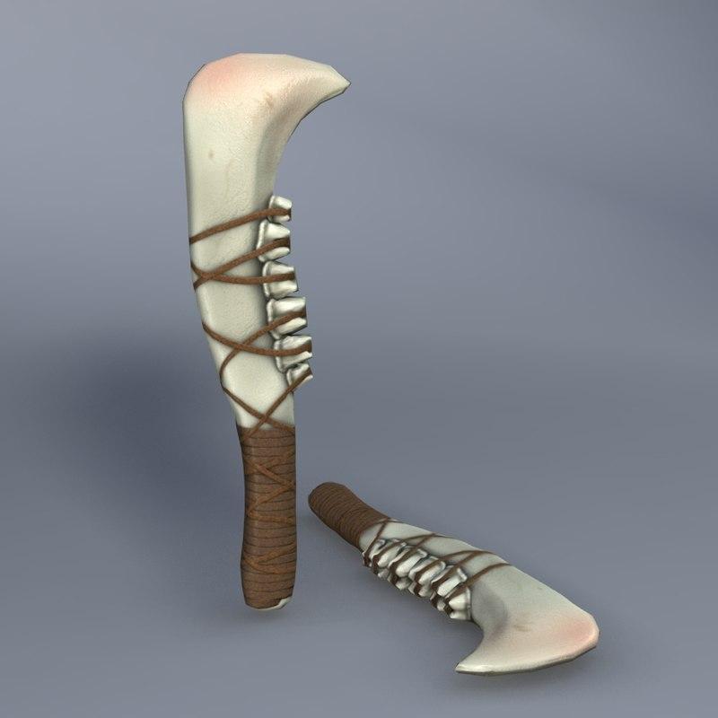 3d model jaw bone knife