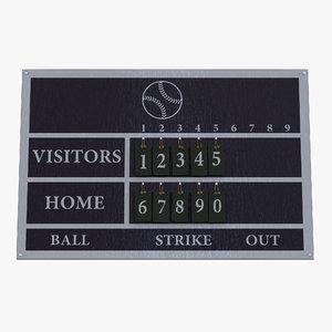 baseball scoreboard 2 3d model
