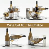 3d blanc wine set 5: