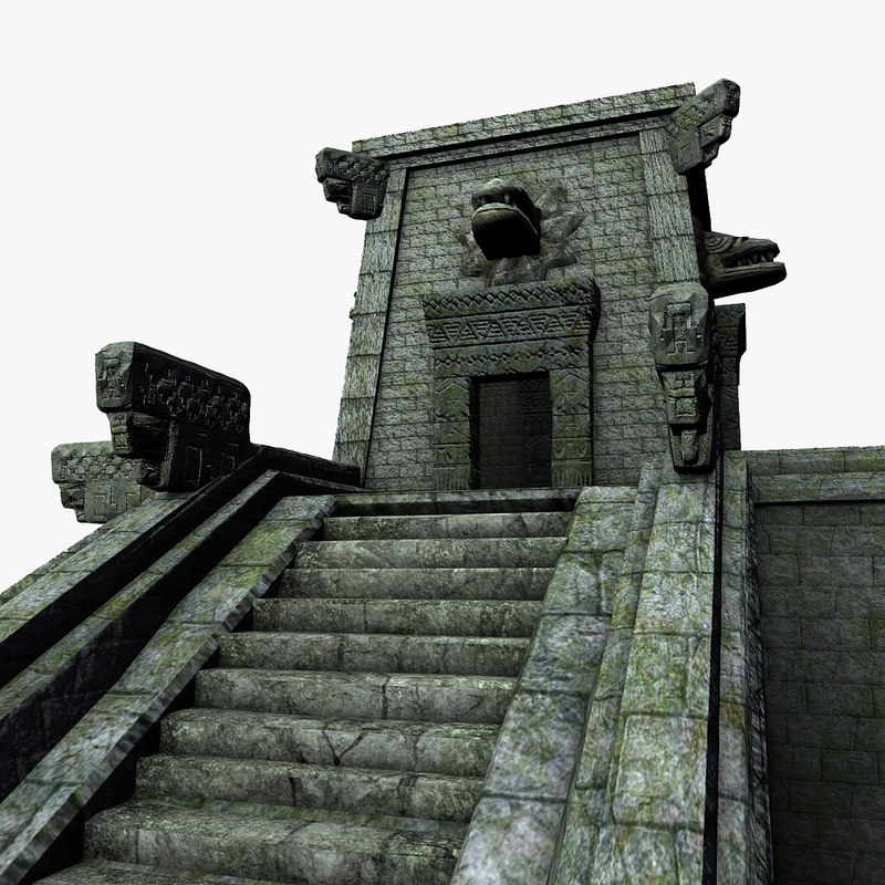 3d aztec temple stairs model