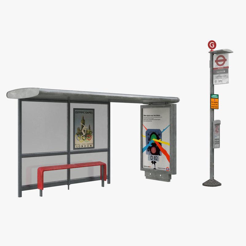 3d london bus stop