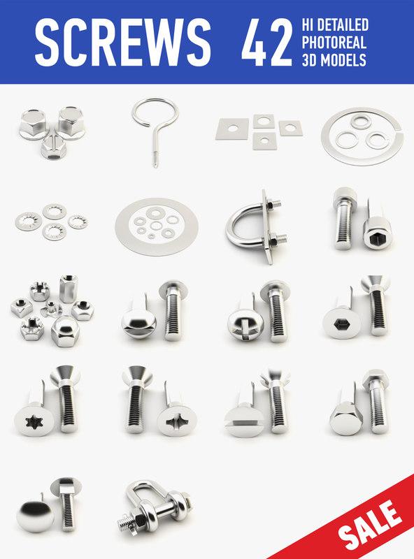 3d screws set model