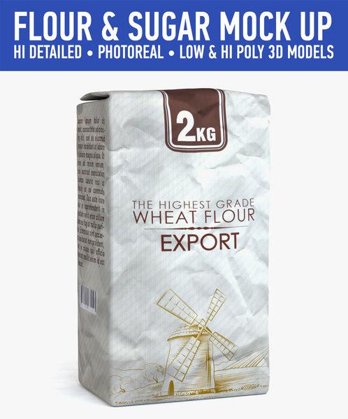 flour sugar c4d