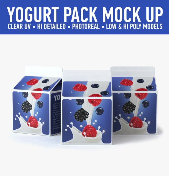 3d yogurt carton model