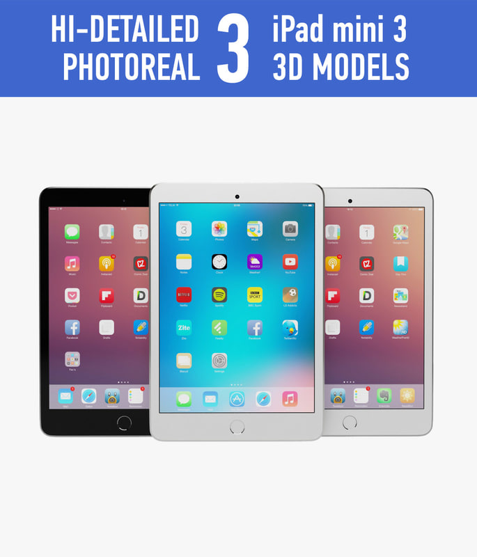 apple ipad mini 3 3d obj