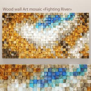3d model wood wall mosaic