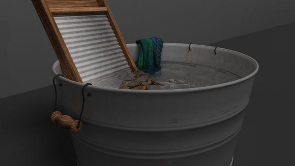 wash tub washboard 3d model