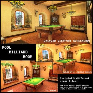 3d model pool billiard room