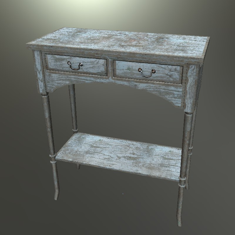 3d model old antique table