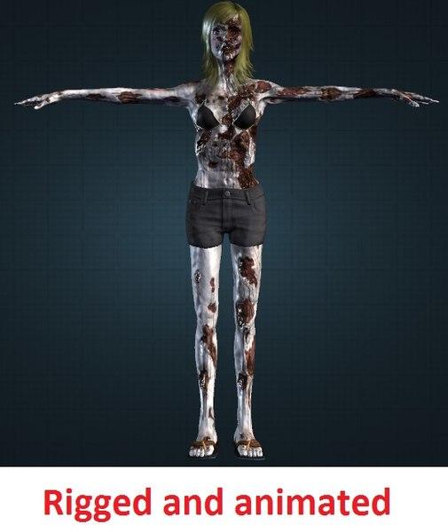 female zombie 3d model