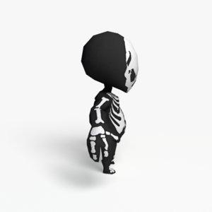 obj toon skeleton character