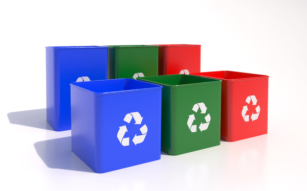 3d recycle bins model