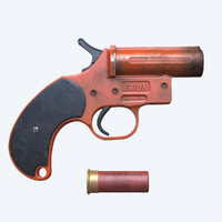 flare gun clean dirty lowpoly high poly