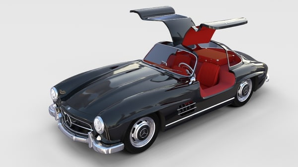 3d rigged mercedes 300sl gullwing model