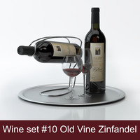Alcohol set #10: Old Vine Zinfandel red wine bottle, glass, tray, wine holder \ stand (high quality models ready for interior rendering)