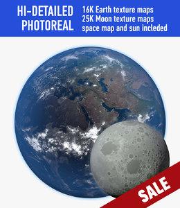 3d planet earth moon