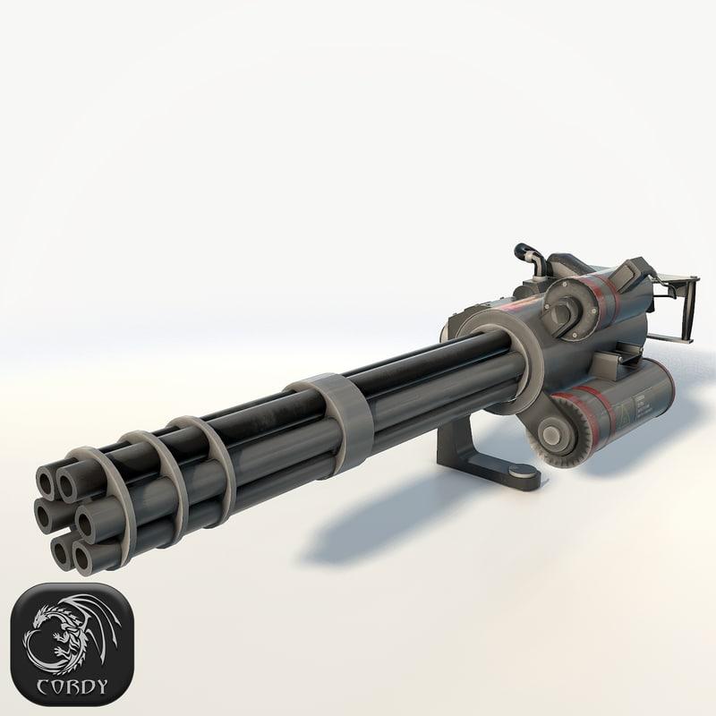 3d realistic minigun