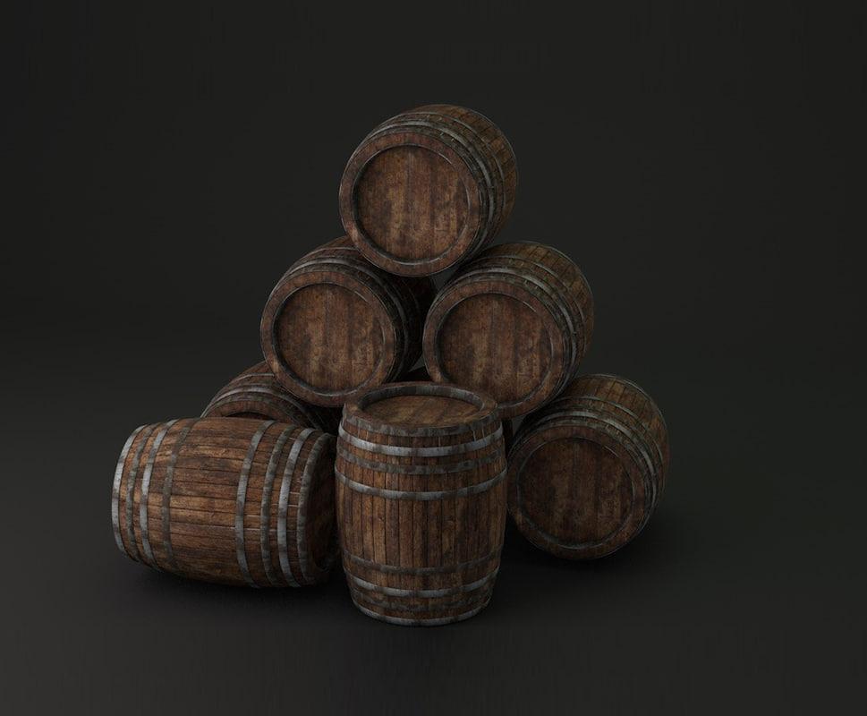3d wood barrels model
