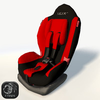 realistic baby car seat 3d model
