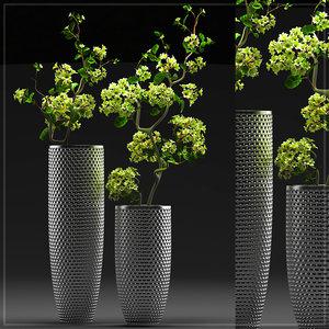 3d flower vase set 4