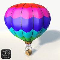 3d realistic hot air baloon model