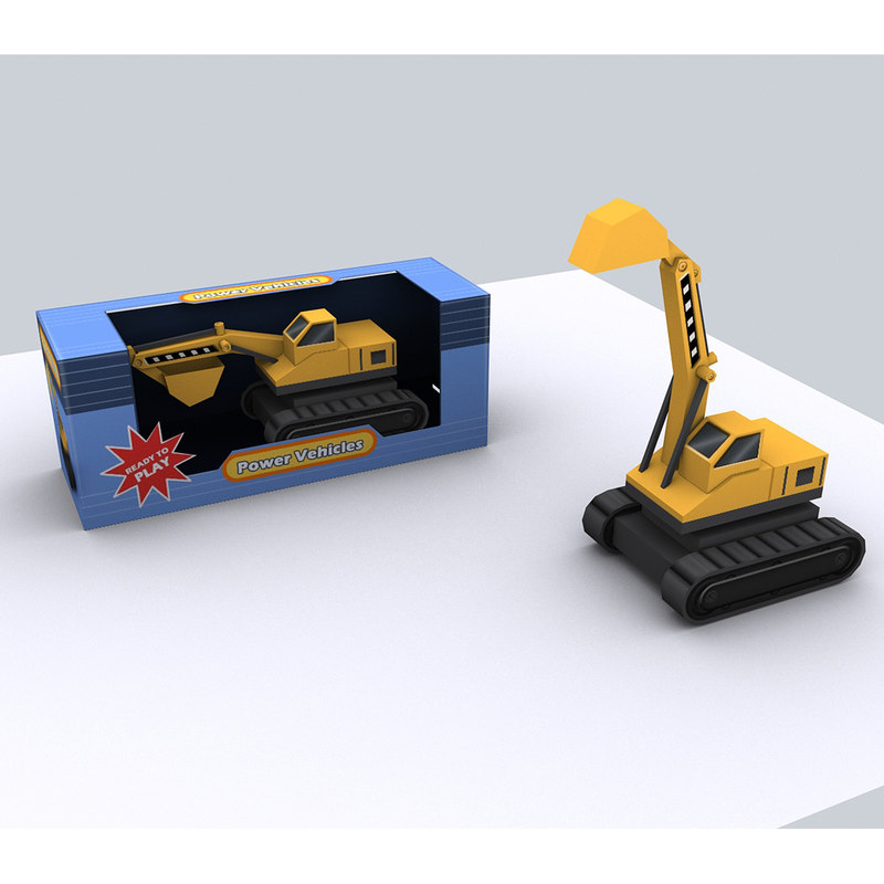3d excavator construction vehicles