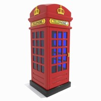 cartoon red telephone 3d obj