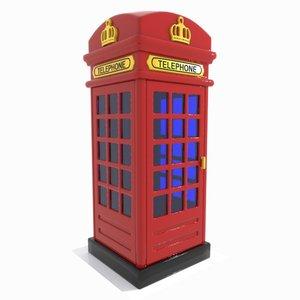 cartoon red telephone 3d obj