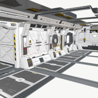 set sci-fi spaceship building interiors 3d fbx