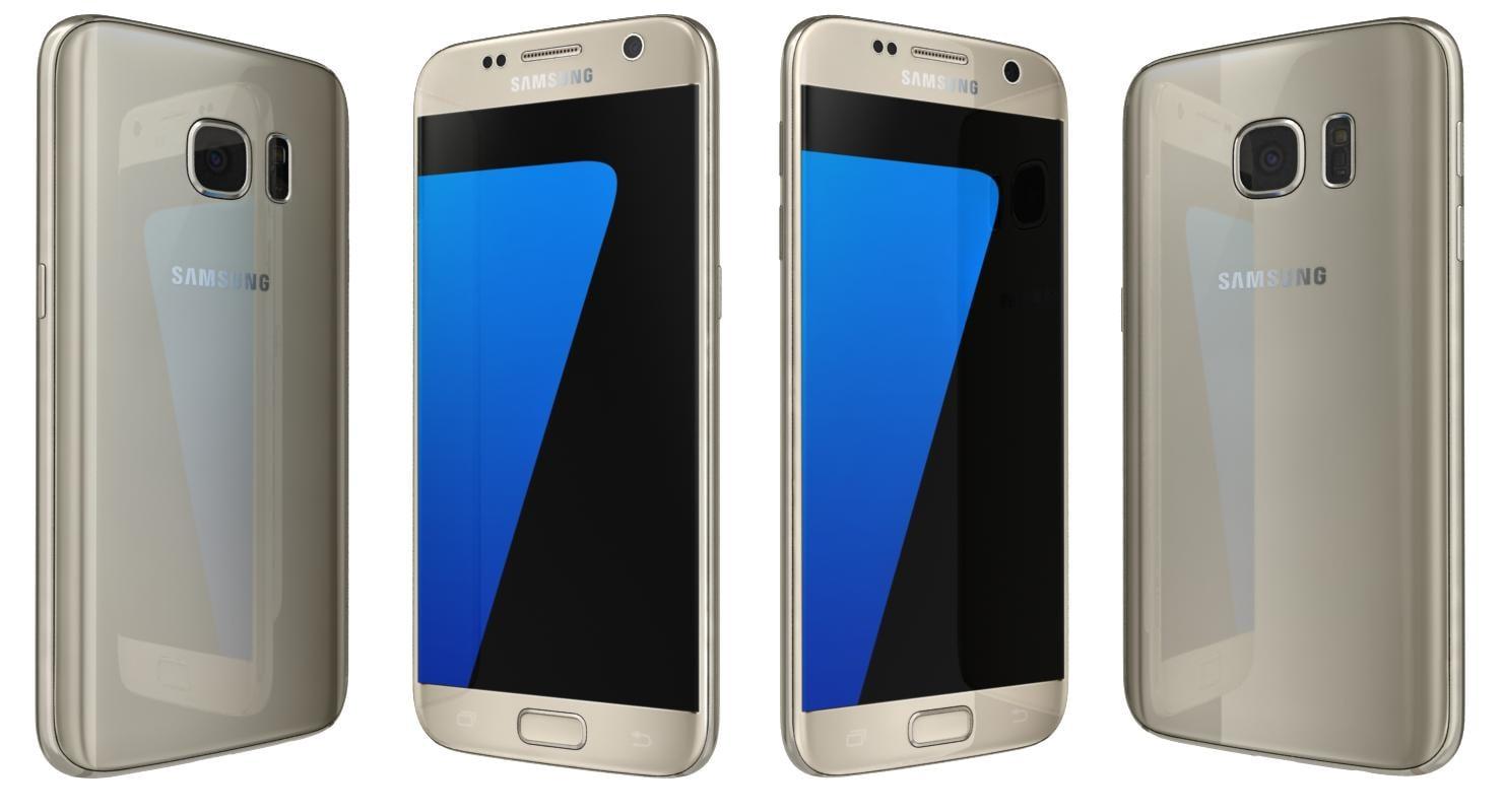 3d samsung galaxy s7 gold model