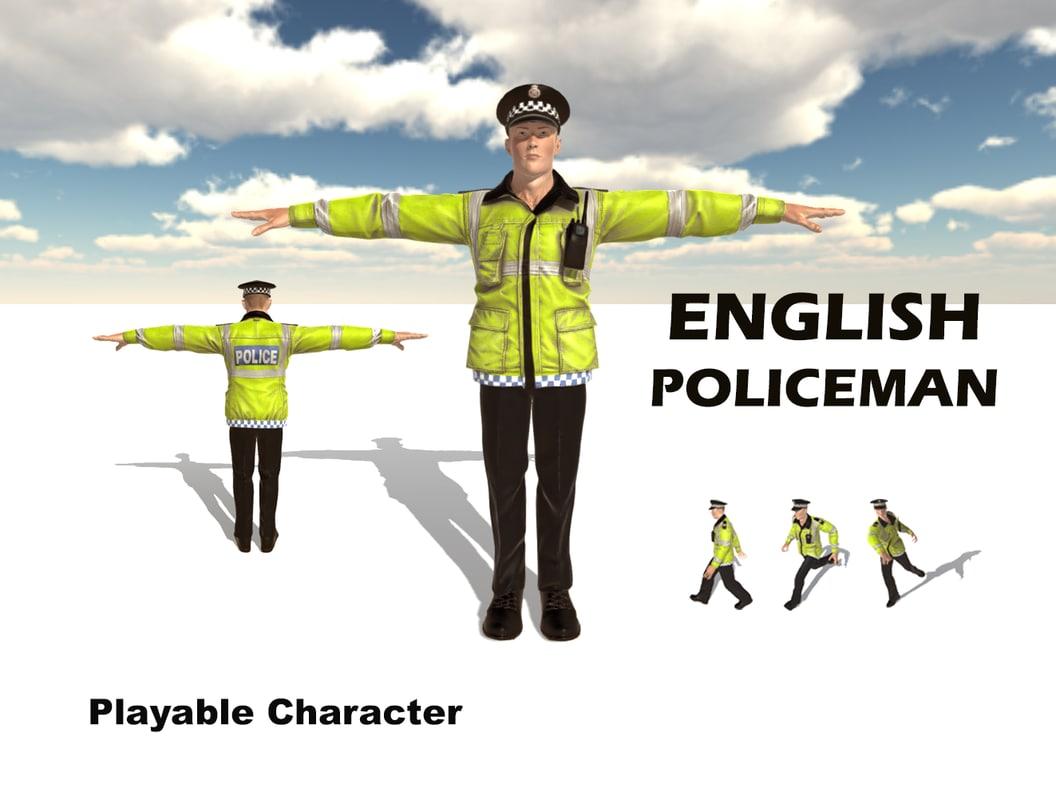 3d english policeman character man