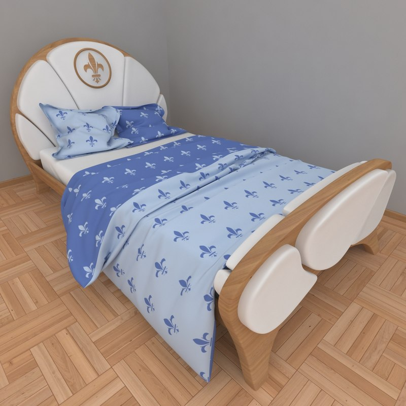 3d child s knight bed interior