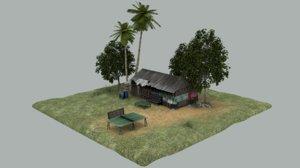 3d model shack scene