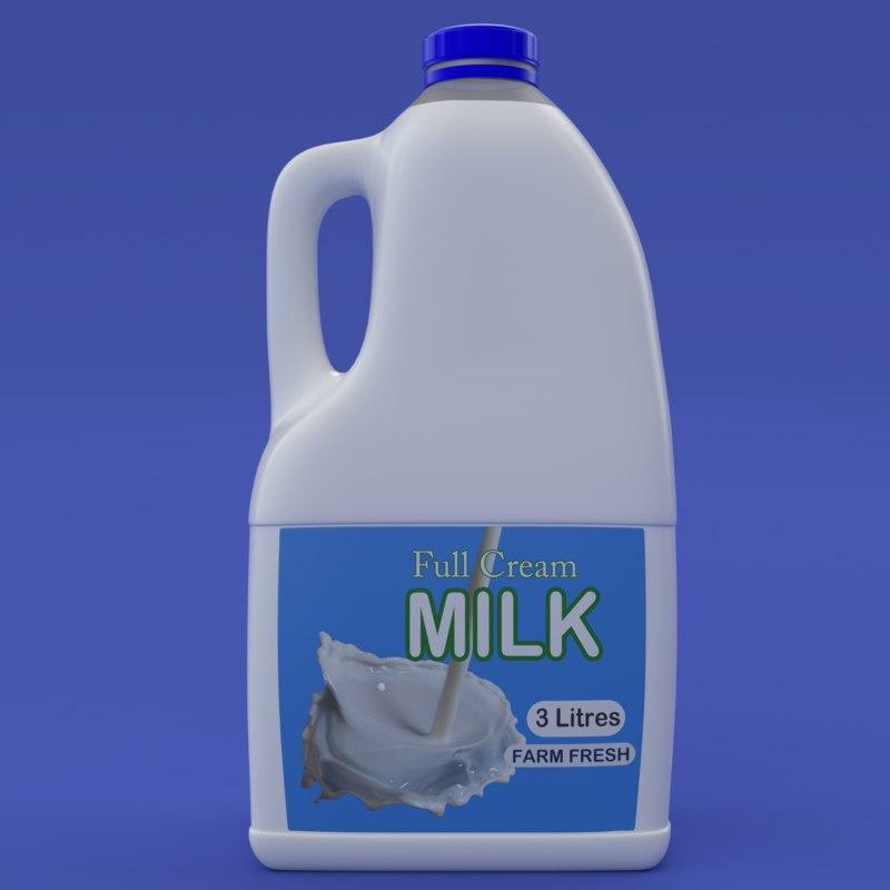 3d plastic 3 litre milk bottle