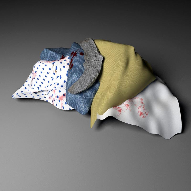 3d model pile clothes