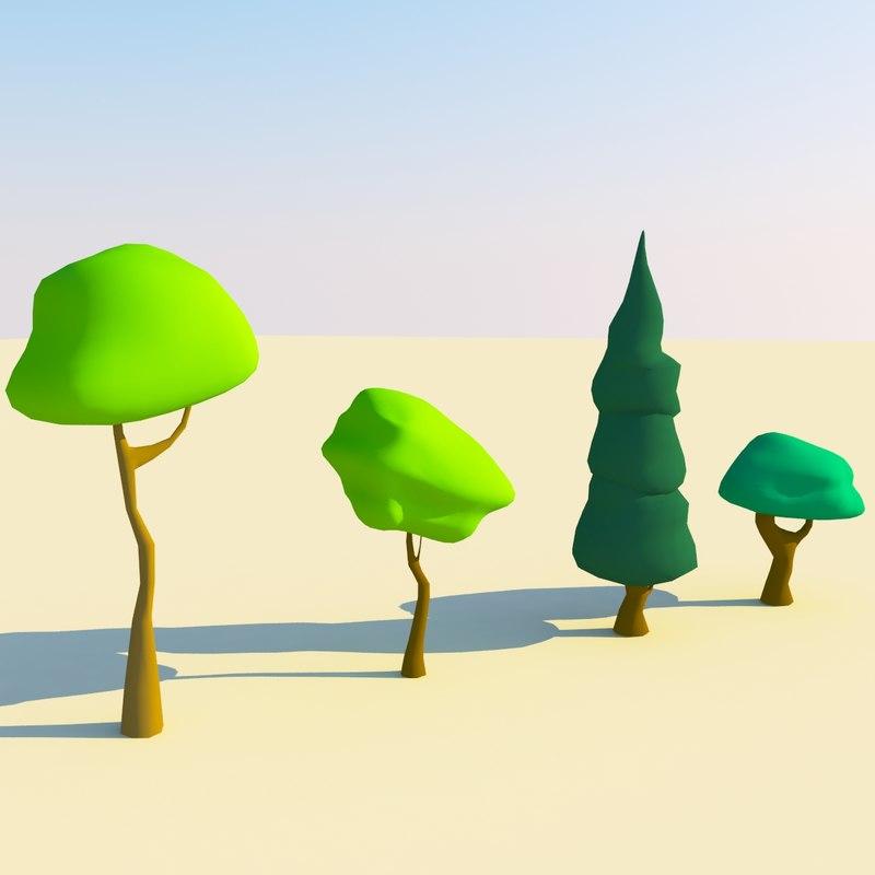 3d cartoon trees