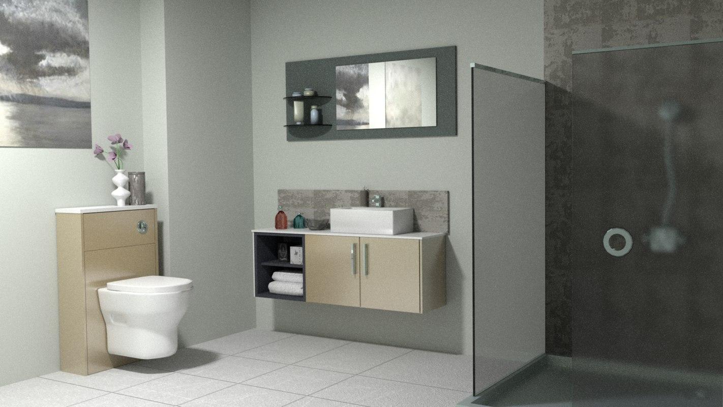 modern bathroom 3d blend