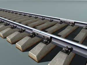 free rail track concrete sleepers 3d model