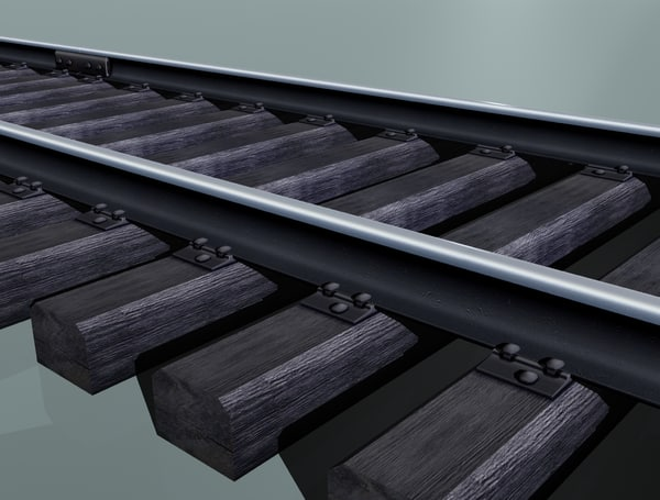 free rail track woody sleepers 3d model