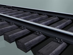 free rail track woody sleepers 3d model