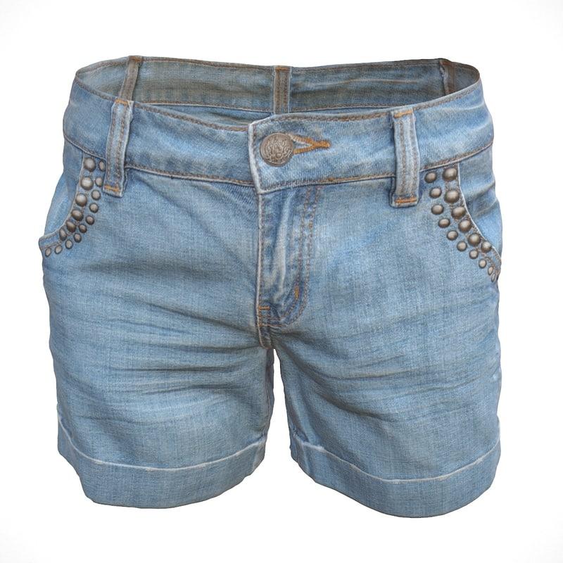 3d realistic jeans shorts