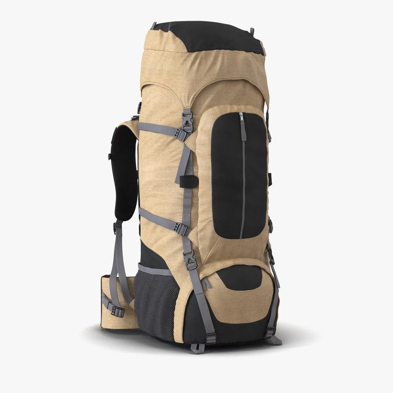 3d model large camping backpack generic