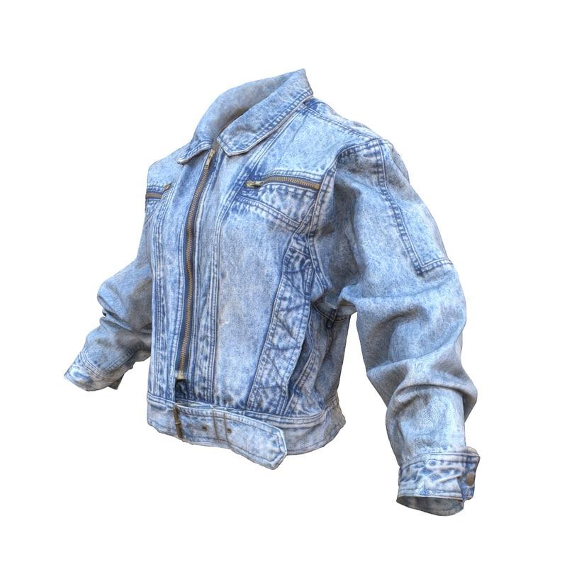 3d model jeans jacket