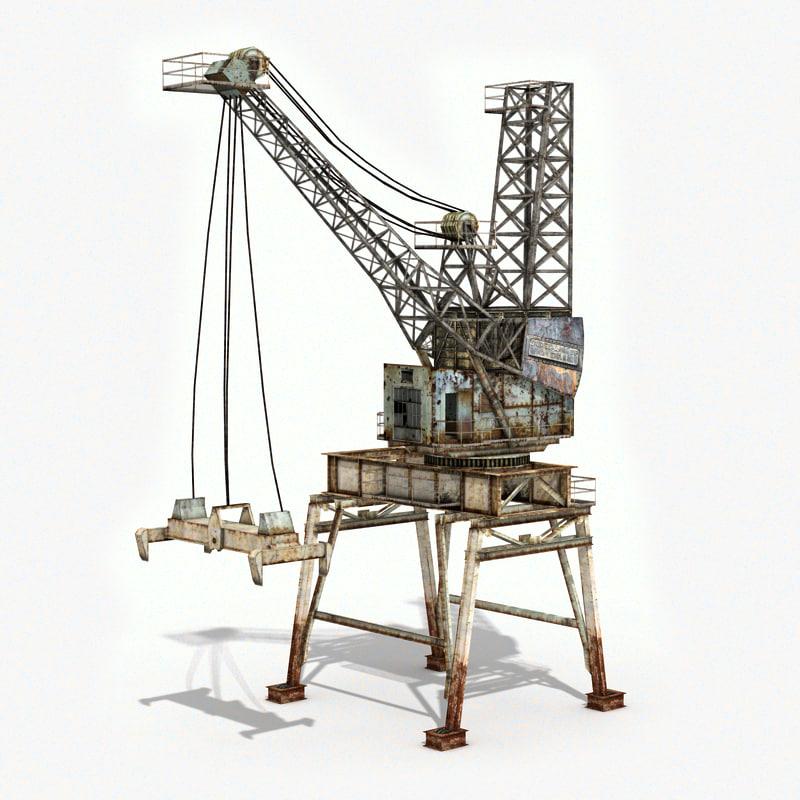 crane container terminal industrial 3d model