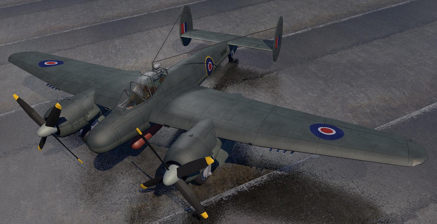 bristol brigand tf1 fighter aircraft 3d model