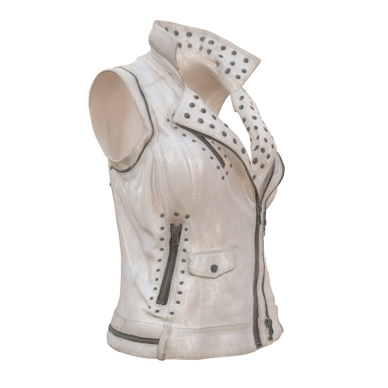 3d sleeveless white leather jacket model
