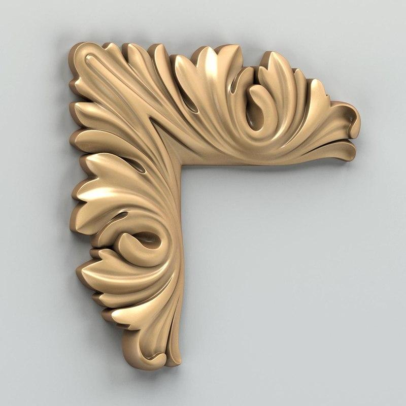 carved corner decor 3d model