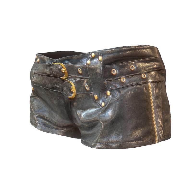 3d model leather gold short