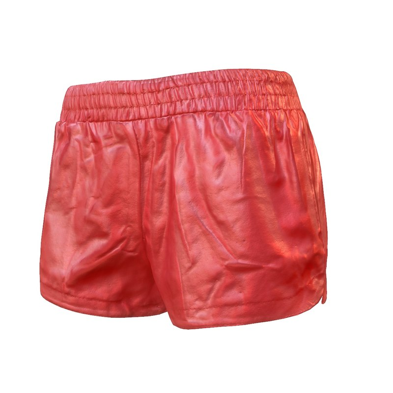 3d leather short red